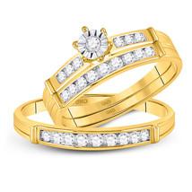 14kt Yellow Gold His & Her Round Diamond Matching Bridal Wedding Ring Set - $799.00