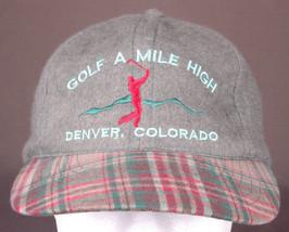 GOLF A MILE HIGH Hat-Denver CO-Snapback-Grey-Baseball Cap-Embroidered-Pl... - $26.17