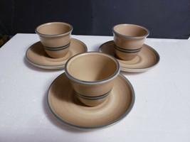 6 Pc Pfaltzgraff USA FOLK ART Stoneware 3 (Two Stripe) Custard Cups, 3 Saucers - $14.84