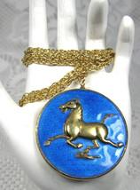 Enamel Necklace Asian Galloping Horse Medallion Han Dynasty Replica 1960... - $48.00