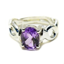 Natural Amethyst Purple Oval Cut 925 Solid Silver Ring Size US 4,5,6,7,8... - $34.35