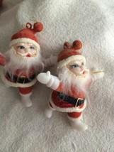Vintage Flocked Santa Claus Figurine Christmas Ornament Set Of Two - $7.87