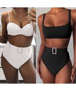 Pink High Cut Push Up Swimsuit High Waist Bikini 2020 Women Swimwear Two... - $86.32+