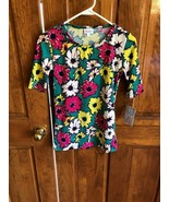 LuLaRoe Green Pink Yellow Floral Print Short Sleeve Gigi Top XS - $11.88