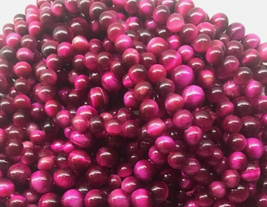 8mm Natural Tiger Eye Round Beads, Magenta, 1 15in Strand, stone, pink t... - $14.00