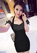 PF261 sexy sweet off-shoulder 2 in 1 dress, size S-XL, spots/black - $18.80