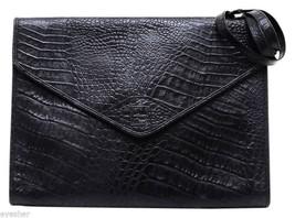 FENDI Clutch Bag Black Moc Croc Leather Portfolio Briefcase Envelope VIN... - €440,55 EUR