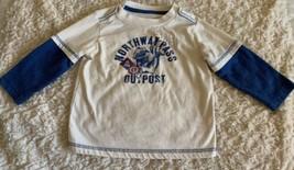 Cherokee Boys White Blue Squirrel Vintage Long Sleeve Shirt 18 Months - $5.00