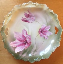 Vintage RS Hand Painted Flower Gold Trim Scalloped Porcelain Cake Plate ... - $65.09