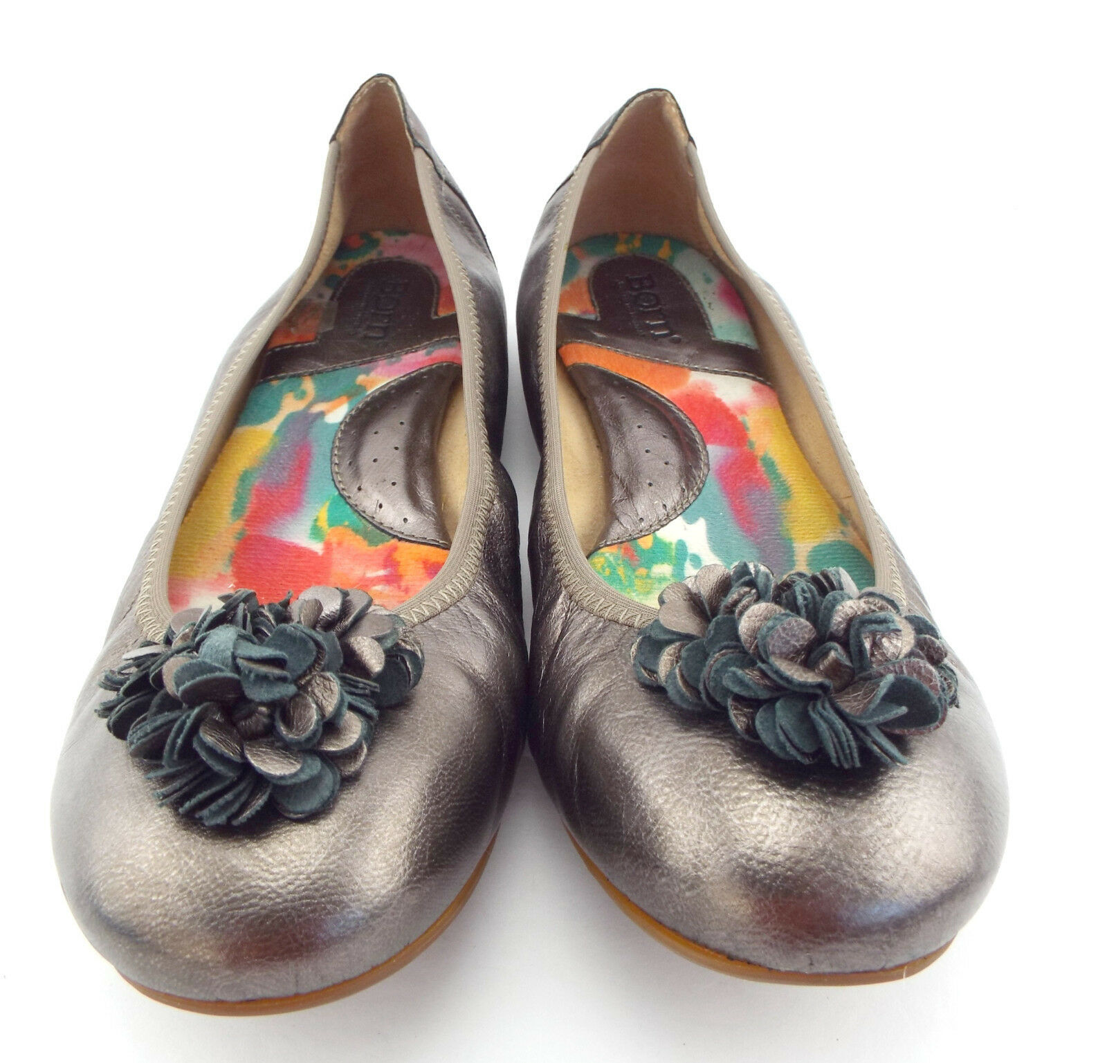 BORN Size 9.5 Pewter Metallic Ballet Flats Shoes 9 1/2 w/ Flower