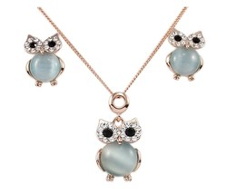 Owl Pendant Necklace Stud Earring Set Blue Created-opal Rose Gold Plated... - $72.94