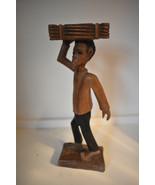 "Carved Wooden Folk Art Figure Signed E Jeanty 13.5"" Tall - $46.00"