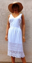 RALPH LAUREN Dress White Crochet Lace Embroidery Jersey Sz L XL New - $65.00