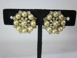 Vintage Signed Valjean Pearl Crystal Rhinestone Flower Screw Back Earrings - $19.79