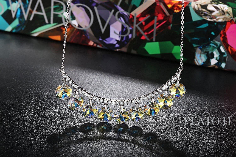 PLATO H Ocean Blue Drops Jewelry Pendant Necklace Drop Dangle Hanging Necklaces