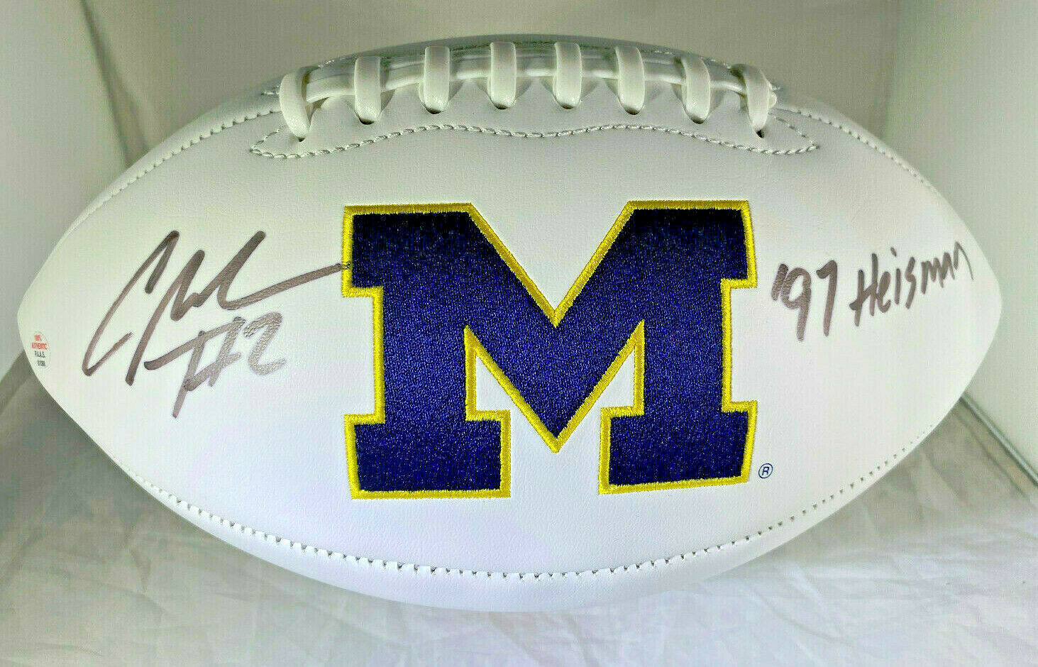CHARLES WOODSON / AUTOGRAPHED MICHIGAN WOLVERINES WHITE PANELLED FOOTBALL / COA