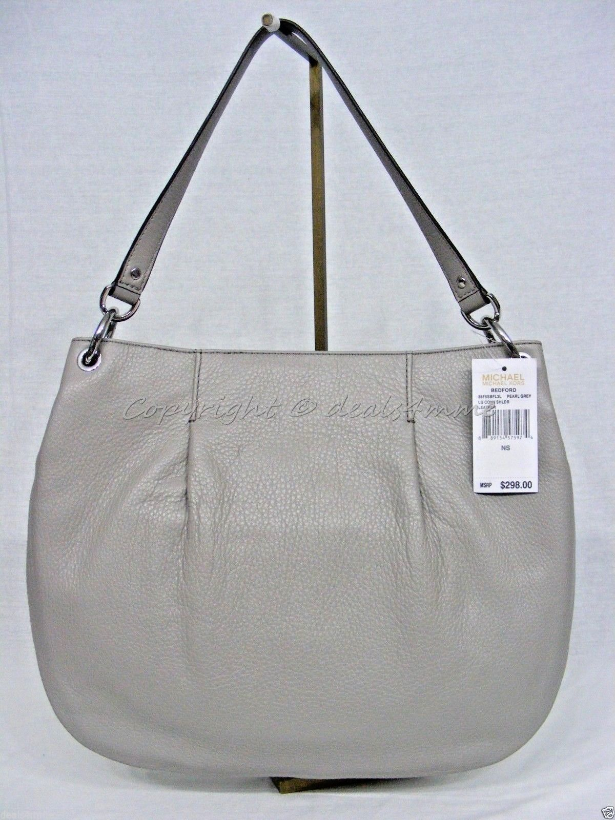 d9559de58e6b4 NWT MICHAEL Michael Kors Bedford Large Convertible Shoulder Bag in Pearl  Grey