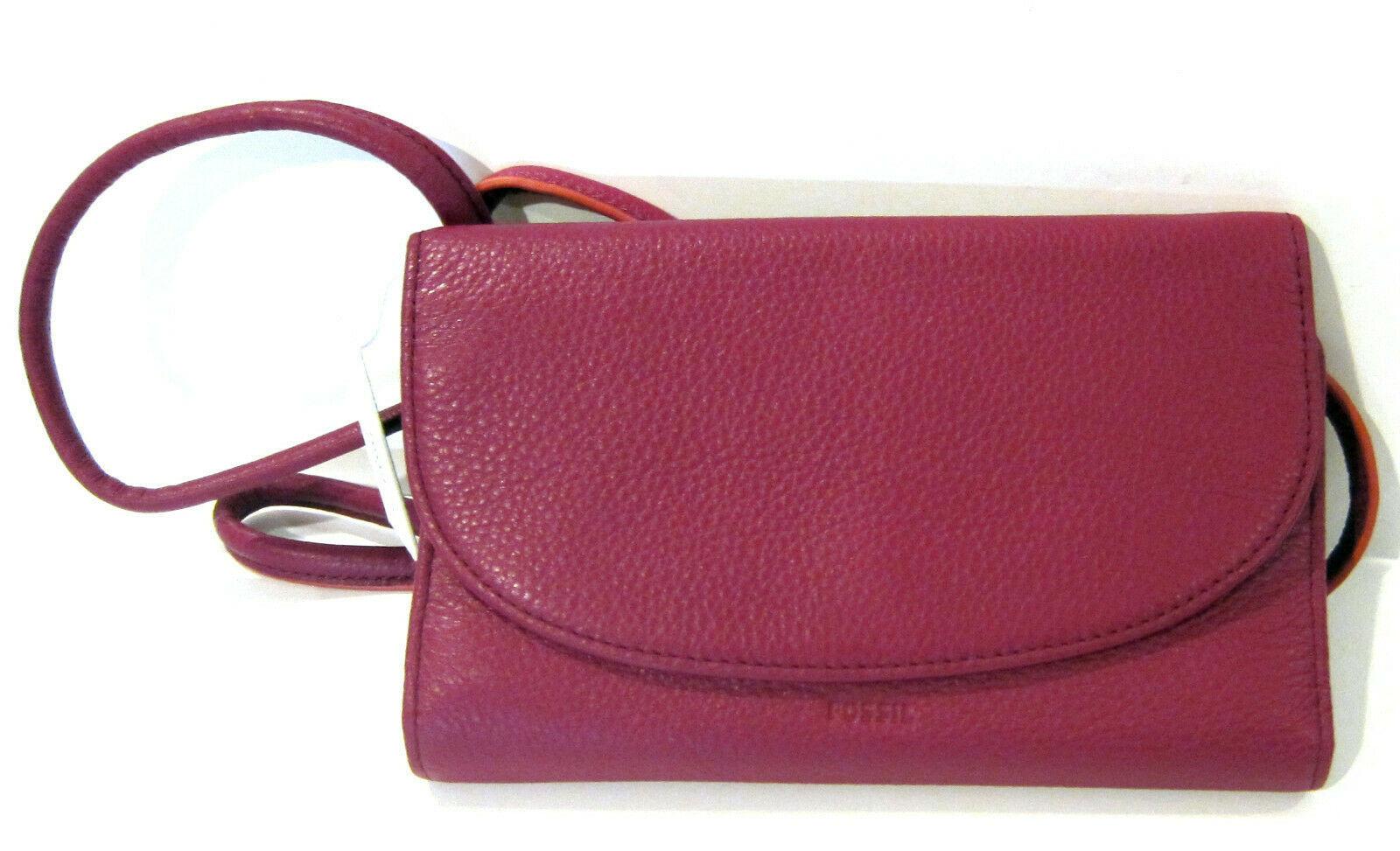 Fossil Brand Sophia Tassled Crossbody Wallet Raspberry Wine SLG1036672 NEW  image 3