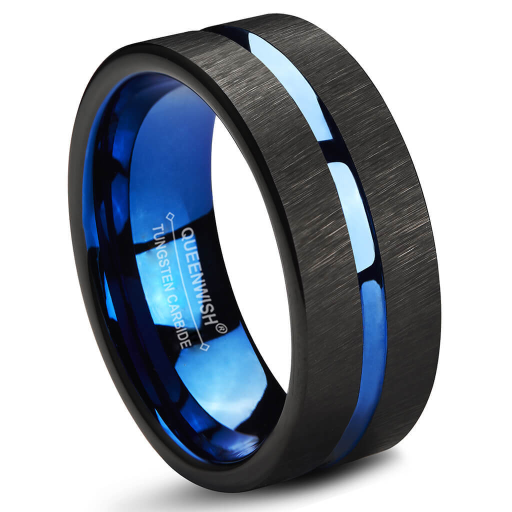 queenwish blue black tungsten carbide wedding band 8mm couples engagement ring bands without. Black Bedroom Furniture Sets. Home Design Ideas