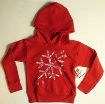 Hanes Girls Hooded Sweatshirt Let It Snow Glitter Snowflake Pullover Hoo... - $4.50