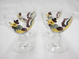 Clear Glass Footed Dessert Sherbet Dishes with Hand Painted Roosters Lot... - $26.13