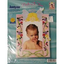 Peek A Boo Angel Photo Frame Counted Cross Stitch Kit 7x10 in Janlynn Baby c243 - $7.99