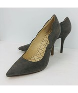 Chinese Laundry Sawy 10 Gray Taupe Suede Leather Scalloped Pump Heels Shoes - $49.49