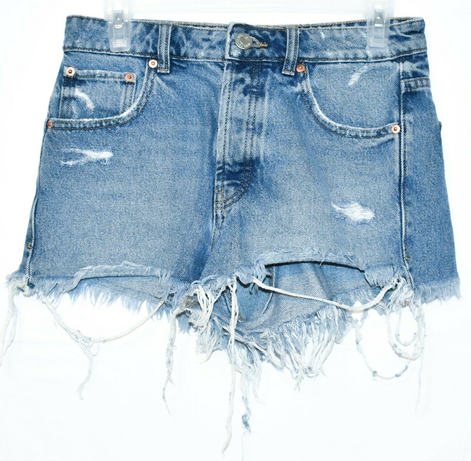 Zara Women's Tattered Raw Hem Distressed Blue Denim Button Up Jean Shorts Size 4
