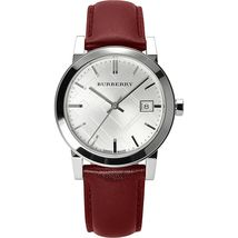 Burberry BU9129 The City Silver Dial Red Strap Watch - 34 mm - Warranty - $240.00