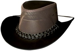 Bullhide Payson Leather Cowboy Hat Aussie Mesh Crown Leather Rope Band C... - $64.00