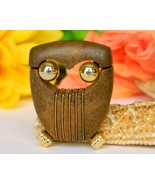 Vintage Owl Bird Brooch Pin Modernist Abstract Brown Gold Tone Figural - $24.95