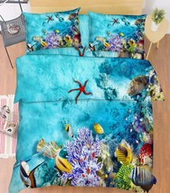 3D Blue Seabed 1 Bed Pillowcases Quilt Duvet Cover Set Single Queen King Size AU - $90.04+