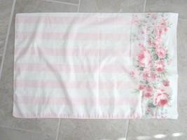 Stevens Vintage Pillow Case Standard Pink Striped Cottage Rose - $9.99