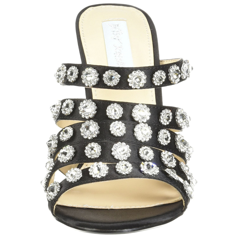 Betsey Johnson Crystal Jovi Black Satin Evening High Heel Mules Pumps 8 NIB