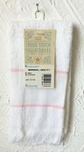 Charles Craft Borderlines Cross Stitch Towel - 14 Count White w/Pink Tri... - $9.49