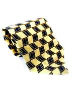 Lands' End Men's Dress Necktie 100% Silk Geometric Blue Gold - $12.67