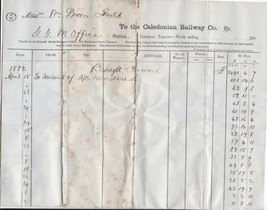The Caledonian Railway Co. Apl/May1882 Glasgow General Traffic Invoice R... - $7.55