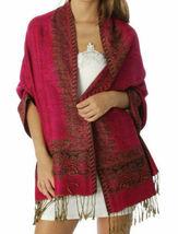 Fashion Border Pattern Thick Pashmina Scarf Shawl Wrap Hot Pink - $8.50