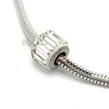 Swarovski European Fit Bracelet Charm Stainless BeCharmed Pave Baguette Crystal image 3