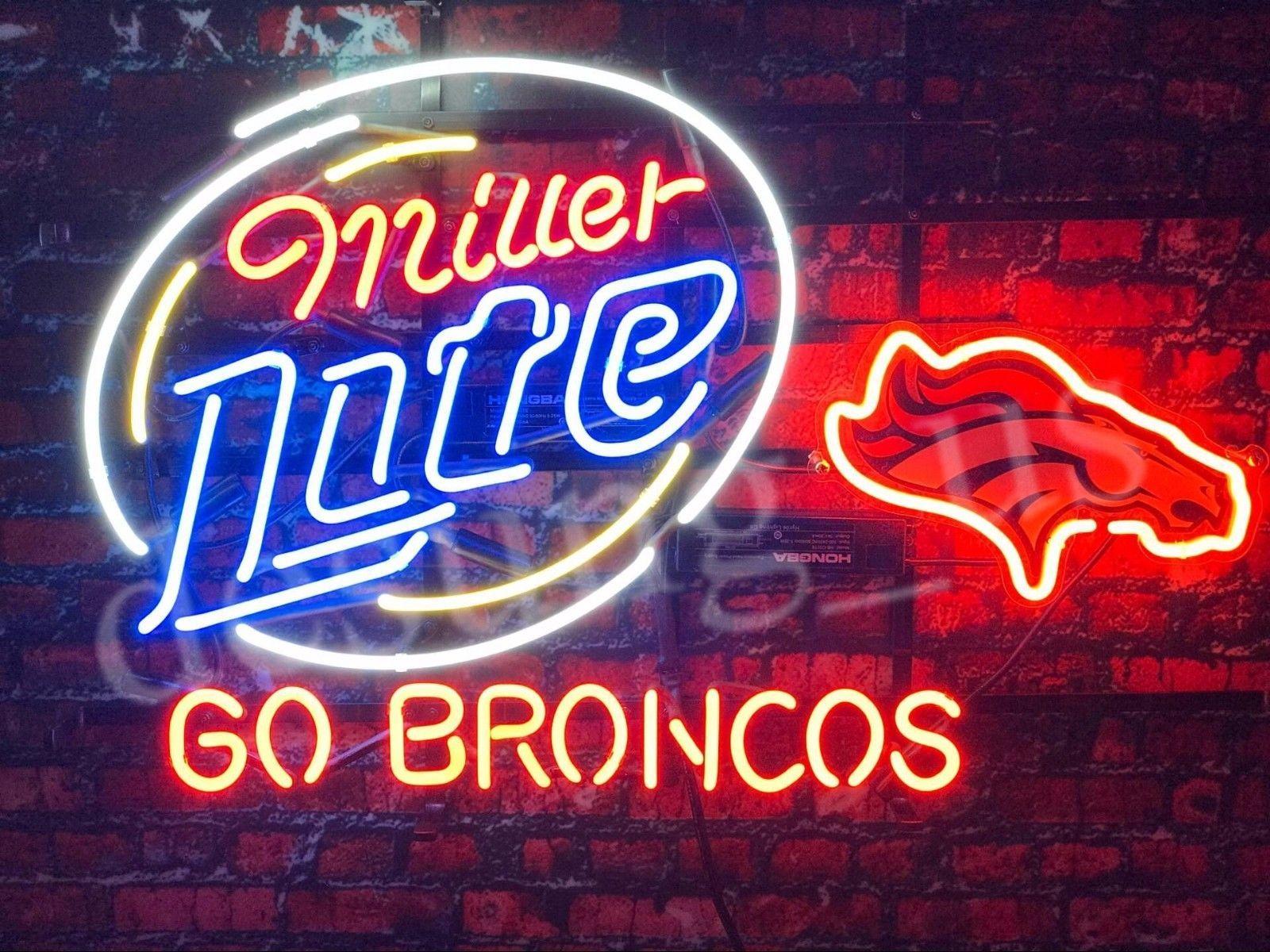 """New Miller Lite Denver Broncos Go Broncos NHL Beer Neon Sign 24""""x20"""""""