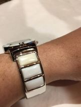 Vintage Style White Mother Of Pearl Bangle Cuff Bracelet Watch image 3