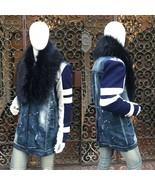 Men's Blue Denim   Off White   Navy Faux Fur Fashion 3/4 Jacket  - $250.00