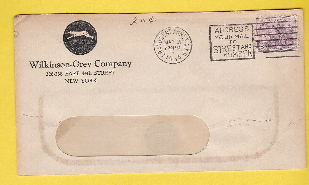 Primary image for WILKINSON-GREY COMPANY GRAND CENT. ANNEX NY MAY 3 1934 WINDOW ENVELOPE