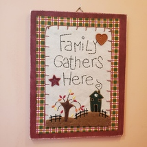 """Wooden Plaque """"Family Gathers Here"""", fall harvest country decor, fabric buttons image 1"""