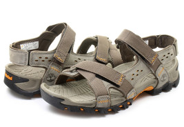 NEW! TIMBERLAND MEN'S  ELRIDGE LEATHER PEWTER SPORT SANDALS 5824A ALL SI... - $78.99