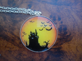 Witch's castle with bats pendant. Halloween - $22.22