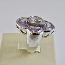 Anillo de Plata 925 Rodiado con con Cristales Violeta y Cristal Transparente image 3