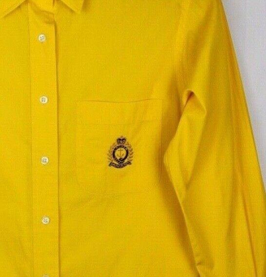 Lauren Ralph Lauren women's shirt yellow button front long sleeve cotton size 6