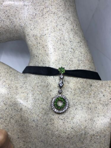 Vintage Real Green Chrome Diopside 925 Sterling Silver Pendant Choker Necklace