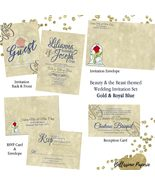 Beauty and the Beast Wedding Invitation Set, Gold , Royal Blue Wedding I... - $50.00+